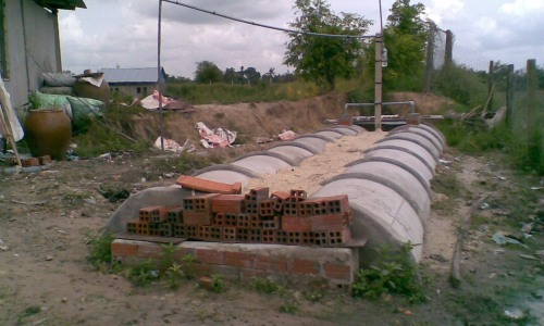 The biogas system installed with the finacial support of the Foundation
