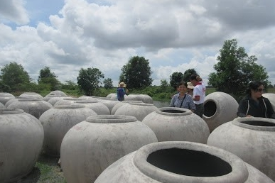 Rain water harvesting vats ready for delivery to remote villages not connected to town water